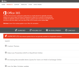Office 365 Roadmap